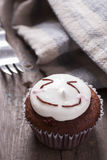 Smiley Face cup cake Stock Photos