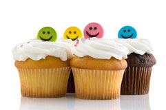 Smiley face cupcakes Stock Photo
