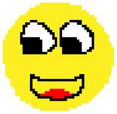 Smiley face drawn in pixels stock illustration