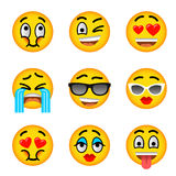 Smiley face emoji flat vector icons set. Smiley face flat vector icons set. Emoji emoticons. Facial emotions and expression symbols. Cute cartoon illustrations Stock Image