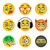 Smiley face emoji flat vector icons set. Smiley face flat vector icons set. Emoji emoticons. Facial emotions and expression symbols. Cute cartoon illustrations royalty free illustration