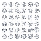 Smiley face emoji thin lines flat vector icons set. Smiley face thin lines flat vector icons set. Emoji emoticons. Different  facial emotions and expression Stock Photos