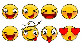 Smiley face emoticons illustrations set. Design royalty free illustration