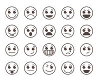Smiley face flat line vector icons set with funny facial expressions. In black circle isolated in white background. Vector illustration Royalty Free Stock Image