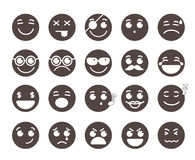 Smiley face flat vector emoticons with emotions and funny facial expressions Royalty Free Stock Photos