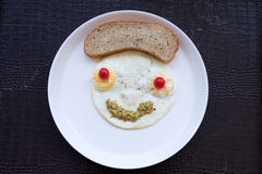 Smiley face from fried eggs Stock Image
