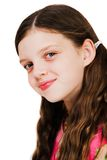 Smiley Face Of A Girl. Isolated over white Stock Photo