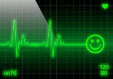 Smiley face on green heart rate monitor Stock Image