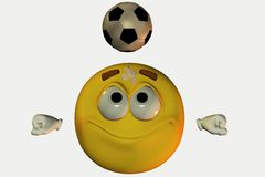 Smiley face heading football Royalty Free Stock Image