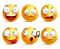 Smiley face icons or emoticons with set of different facial expressions. In glossy 3D realistic isolated in white background. Vector illustration