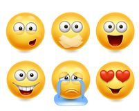 Free Smiley Face Icons. Funny Faces 3d Realistic Set. Cute Yellow Facial Expressions Collection 2 Royalty Free Stock Photo - 110909955