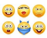 Smiley face icons. Funny faces 3d realistic set. Cute yellow emoji collection Royalty Free Stock Images