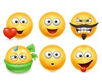 Smiley face icons. Funny faces 3d set, Cute yellow facial expressions collection 3. Smiley face icons. Funny faces 3d realistic set. Cute yellow facial royalty free illustration