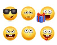Smiley face icons. Funny faces 3d set, Cute yellow facial expressions collection 4.  stock illustration