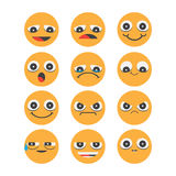 Smiley face icons isolated on white background Stock Photo
