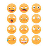 Smiley face icons isolated on white background Stock Photos