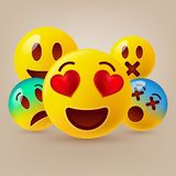Smiley face icons or yellow emoticons with emotional funny faces in glossy 3D realistic Royalty Free Stock Image