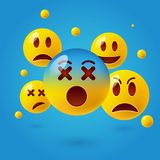 Smiley face icons or yellow emoticons with emotional funny faces in glossy 3D realistic Stock Image
