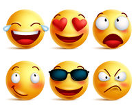 Smiley face icons or yellow emoticons with emotional funny faces. In glossy 3D realistic isolated in white background. Vector illustration
