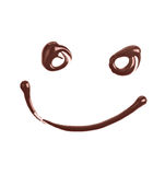 Smiley face made of chocolate syrup Stock Image