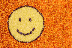 Smiley face made of LEGUMES Royalty Free Stock Photo