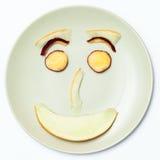 Smiley Face, met Nectarines en Meloen wordt gemaakt die royalty-vrije stock afbeeldingen