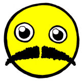 Smiley face with mustache Royalty Free Stock Photography