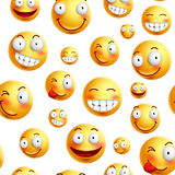 Smiley face pattern vector background. Continuous, endless or seamless smileys pattern Royalty Free Stock Photos