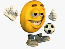 Smiley face playing soccer Royalty Free Stock Photography