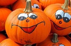 Smiley face pumpkin. Pumpkins with smiley faces painted on them Royalty Free Stock Photo