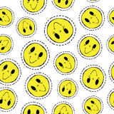 Smiley face retro patch icon seamless pattern Royalty Free Stock Image