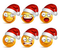 Smiley face of santa claus emoticons with set of facial expressions for christmas Royalty Free Stock Photography