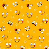 Smiley face seamless pattern with funny facial expressions. In continuous orange background. Vector illustration stock illustration