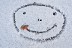 Smiley face. Smiling snowman. Winter. Royalty Free Stock Images