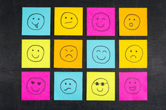 Smiley Face Sticky Notes. Smiley emoticon face sticky notes stock photos