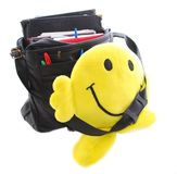 Smiley Face Student. Bright yellow smiley face character carrying an overflowing book bag Royalty Free Stock Photo