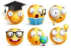 Smiley face student vector emoticons set with facial expressions. And studying school activities isolated in white background. Back to school vector icons Stock Image