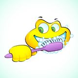 Smiley Face with Toothbrush. Illustration of smiley face brushing teeth with toothbrush Stock Image