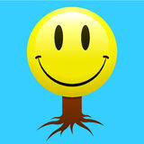 Smiley face tree. On blue royalty free illustration