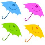 Smiley Face Umbrella Clip Art. An illustration featuring your choice of 4 colourful smiling umbrella images isolated on white Stock Images