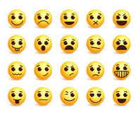 Smiley face vector icons set with funny facial expressions. In yellow color isolated in white background. Vector illustration Stock Photography