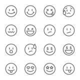 Smiley Face Vector Line Icon Set. Contains Such Icons As Happy, Cheeky, Emoji And More. Expanded Stroke Royalty Free Stock Image