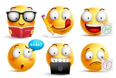 Smiley face vector set for back to school with facial expressions. And student school activities isolated in white background. Yellow emoticons vector Stock Photo