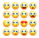 Smiley face vector set of emoticons and icons in yellow color Royalty Free Stock Photography
