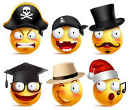 Smiley face vector set of funny toothless pirate, magician, graduate Stock Images
