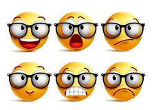 Smiley face vector set of yellow nerd emoticons with eyeglasses. And funny facial expressions isolated in white background. Vector illustration stock illustration