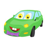 Smiley faced cartoon car with a bow-tie. Bright vector illustration Royalty Free Stock Photo