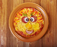 Smiley Faced Pizza arkivbilder