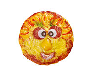 Smiley Faced Pizza royaltyfria bilder