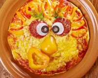 Smiley Faced Pizza Stock Photography